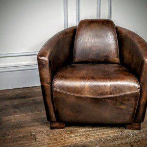 Fauteuil Club Aviateur en Cuir marron Design Vintage