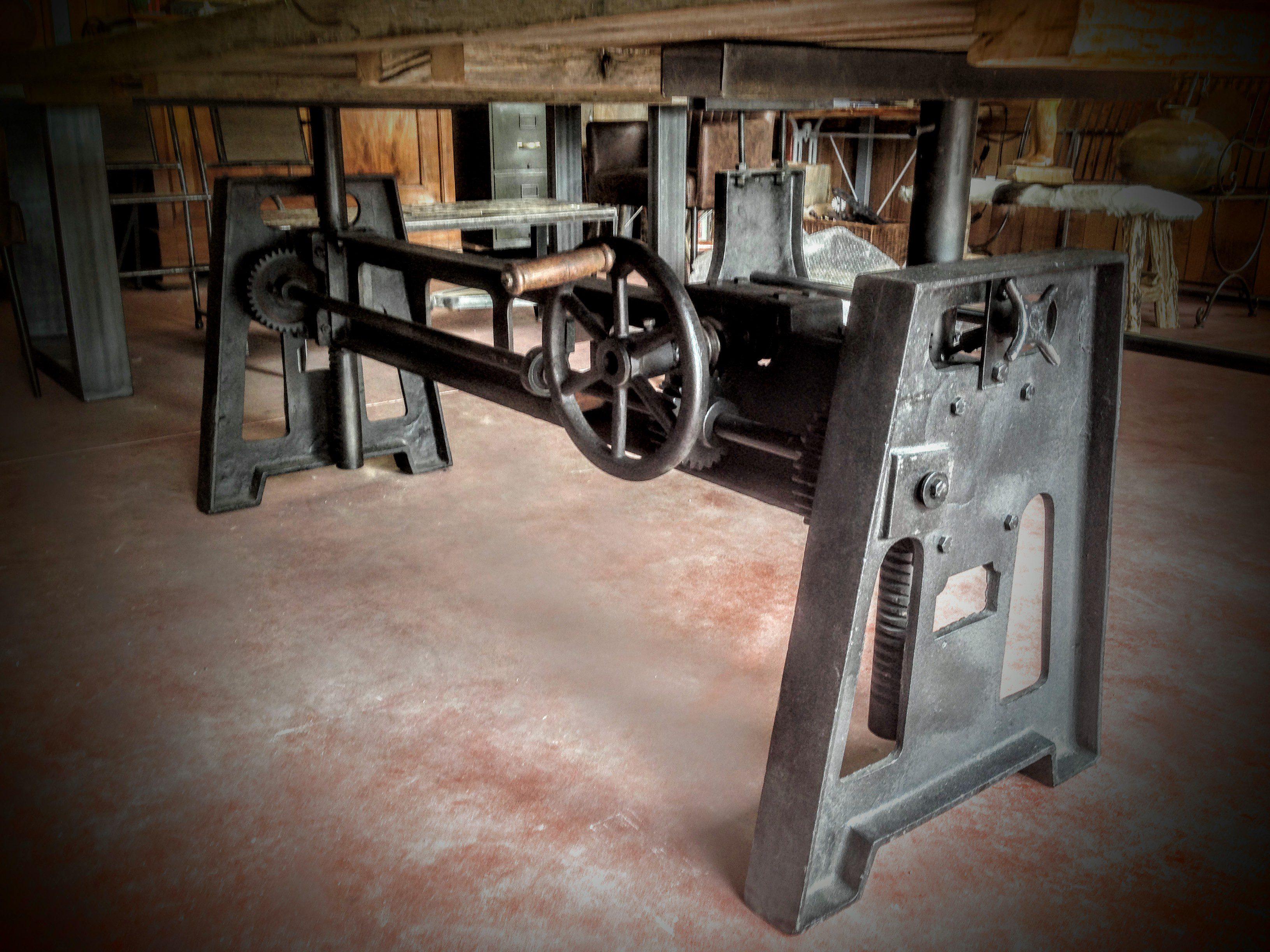 Table Elevatrice Pied Carre En Fonte Bois Metal Style