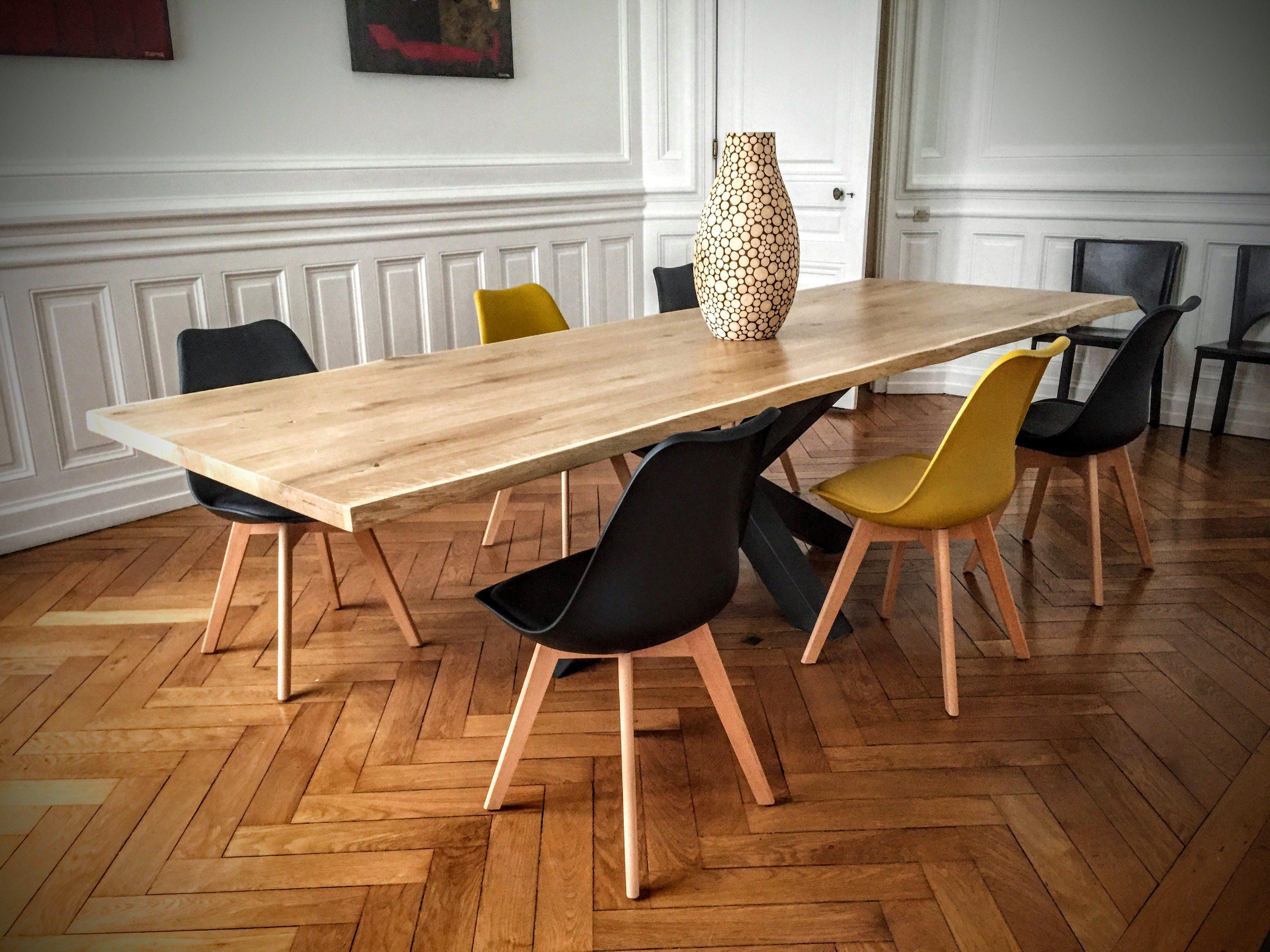 Table Bois Métal Pied central - Design Industriel
