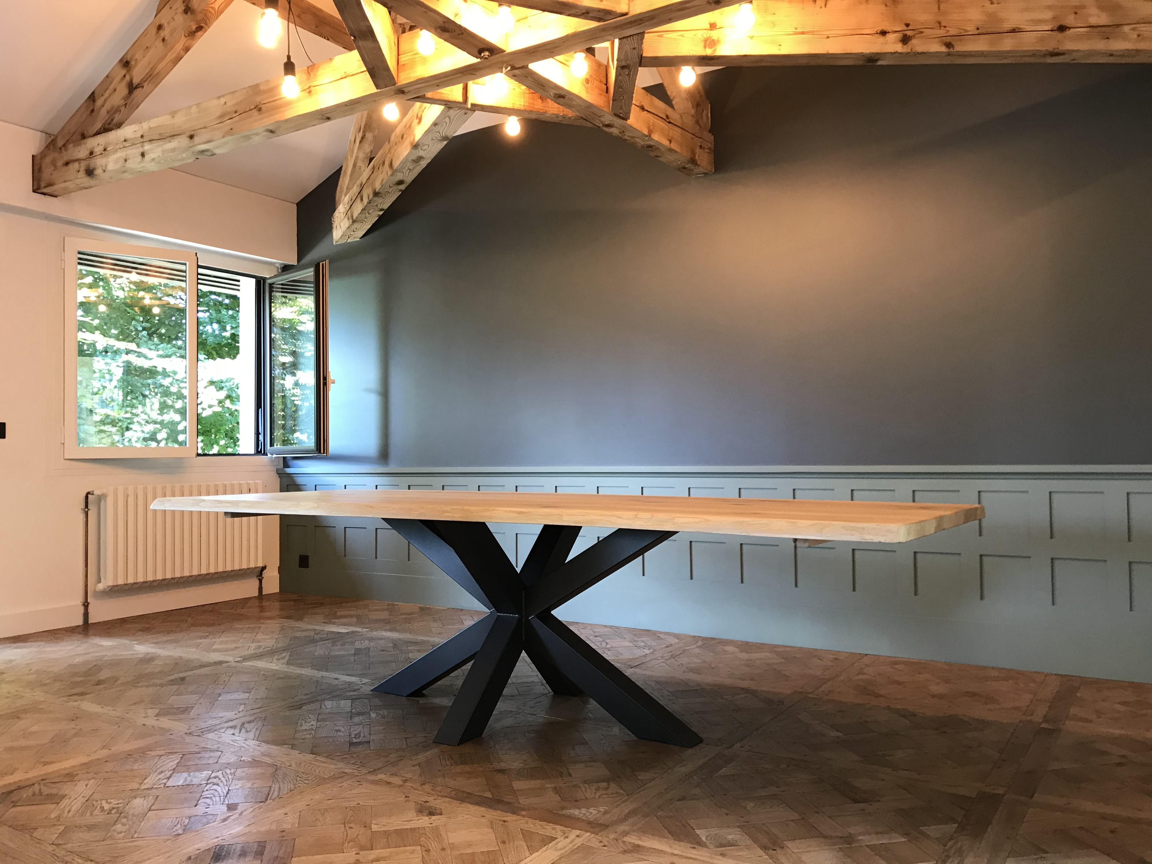 Table Bois Metal Pied Central Design Industriel Creation