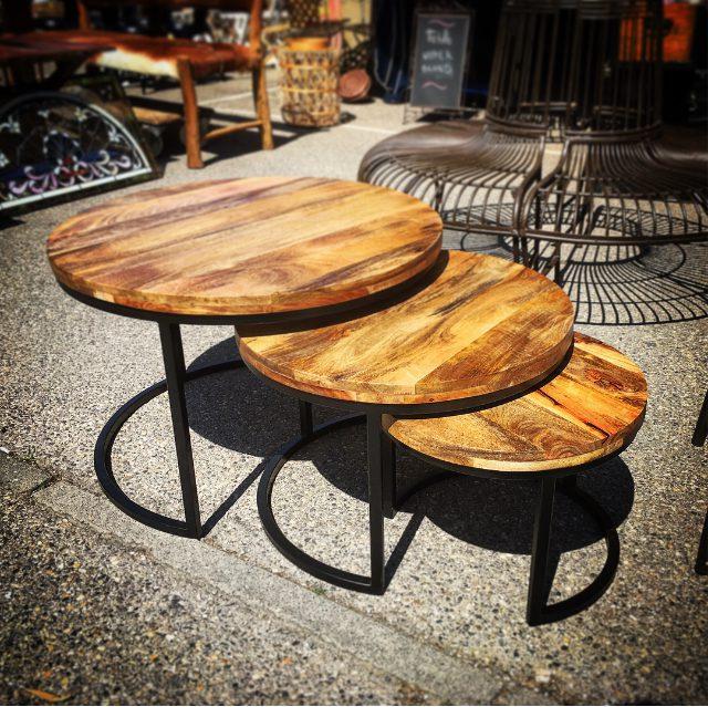 Tables Basses Gigognes Rondes Bois Et Métal Création Sur Mesure