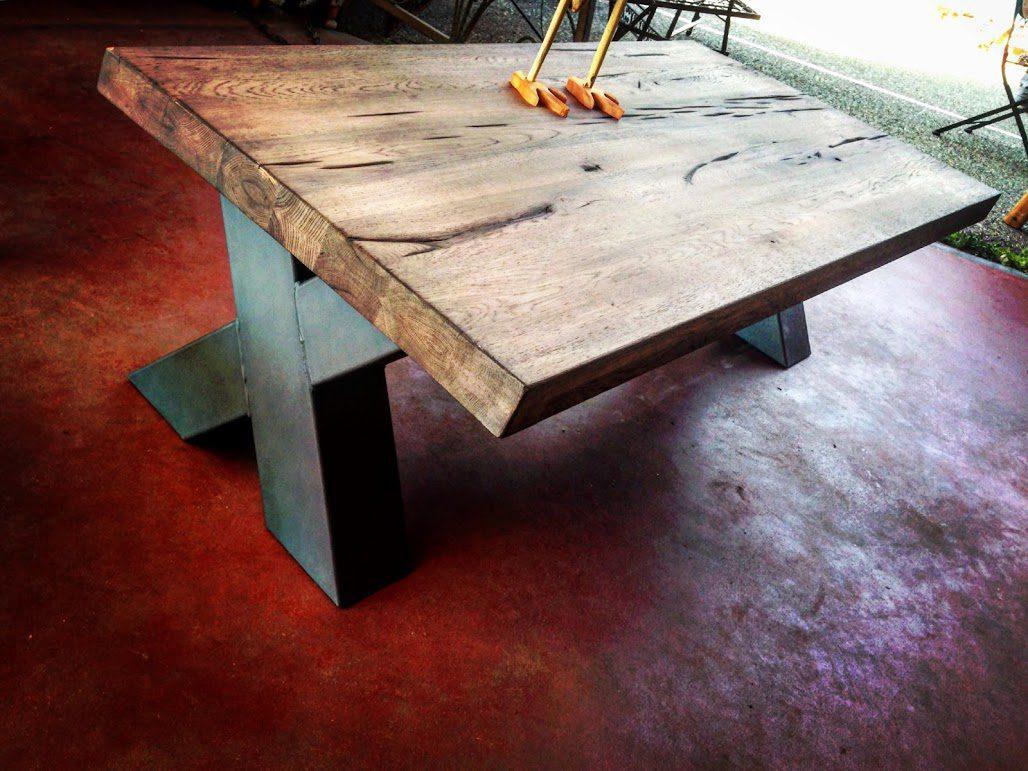 table basse industrielle pied m tal cross cr ation sur mesure. Black Bedroom Furniture Sets. Home Design Ideas
