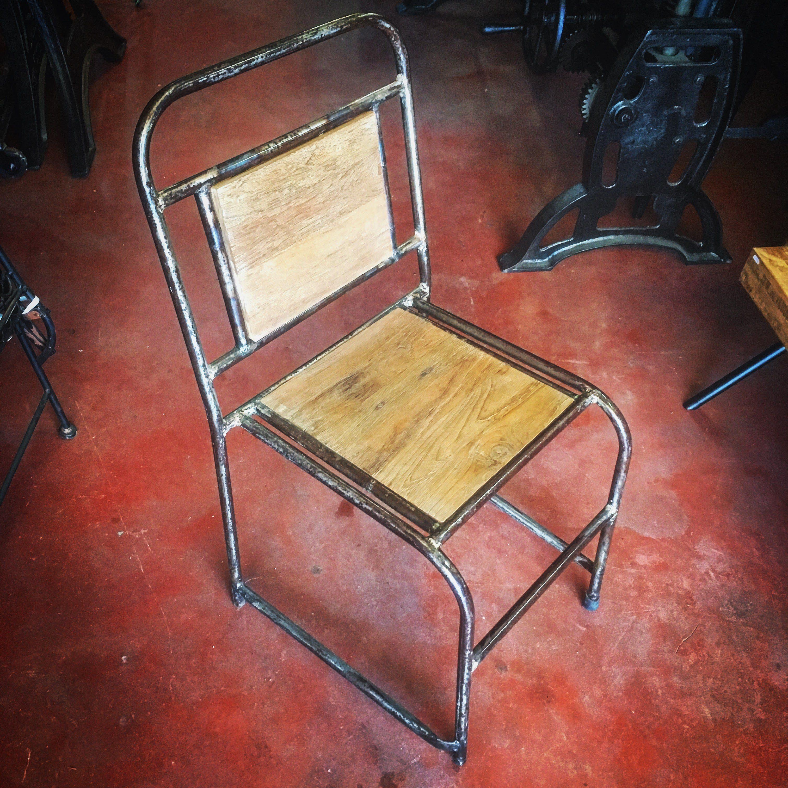 Chaise Bois Et Metal Industriel chaise industrielle atelier bois et métal - chaise d'écolier