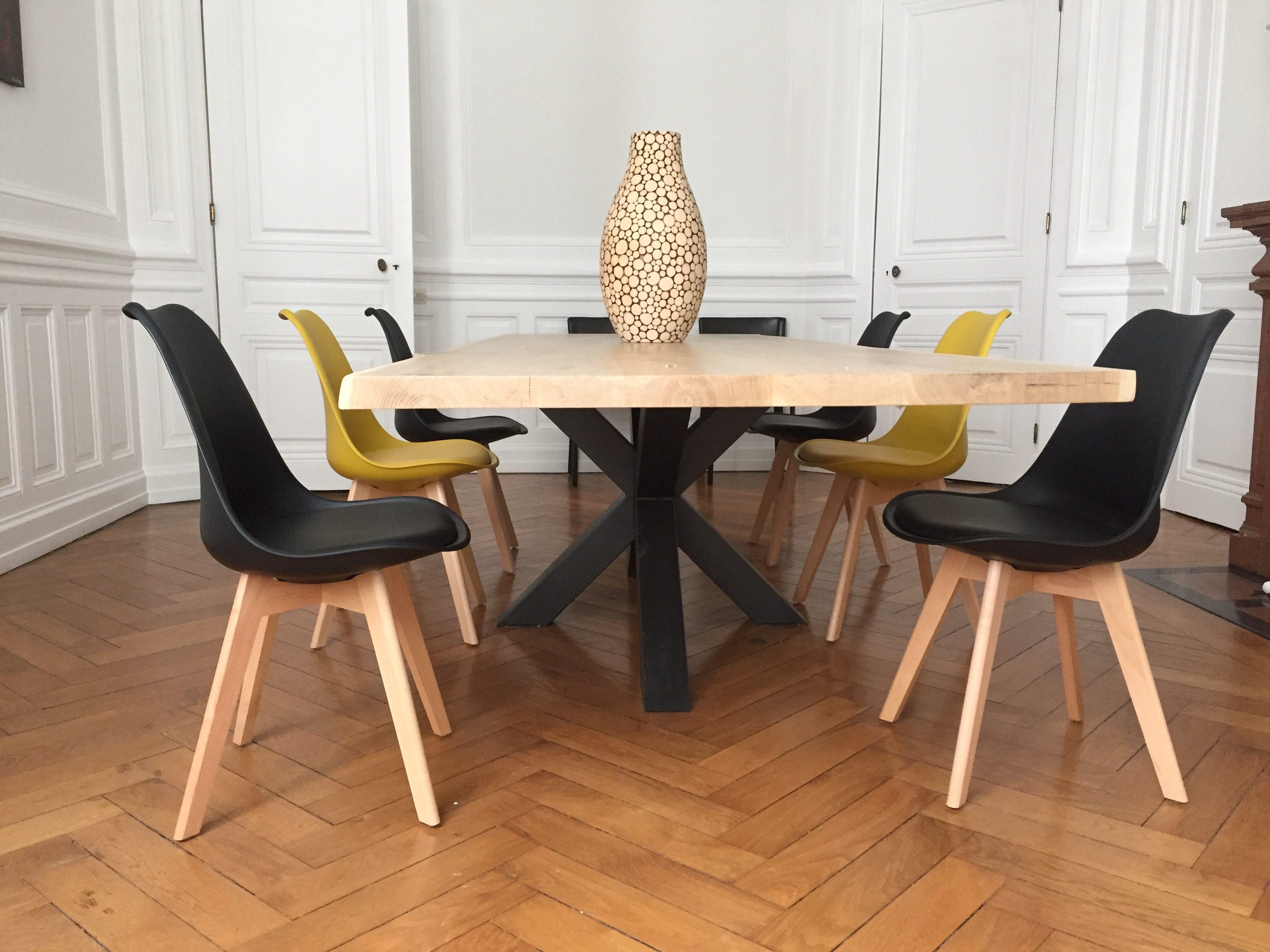 table bois m tal pied central acier cr ation design. Black Bedroom Furniture Sets. Home Design Ideas