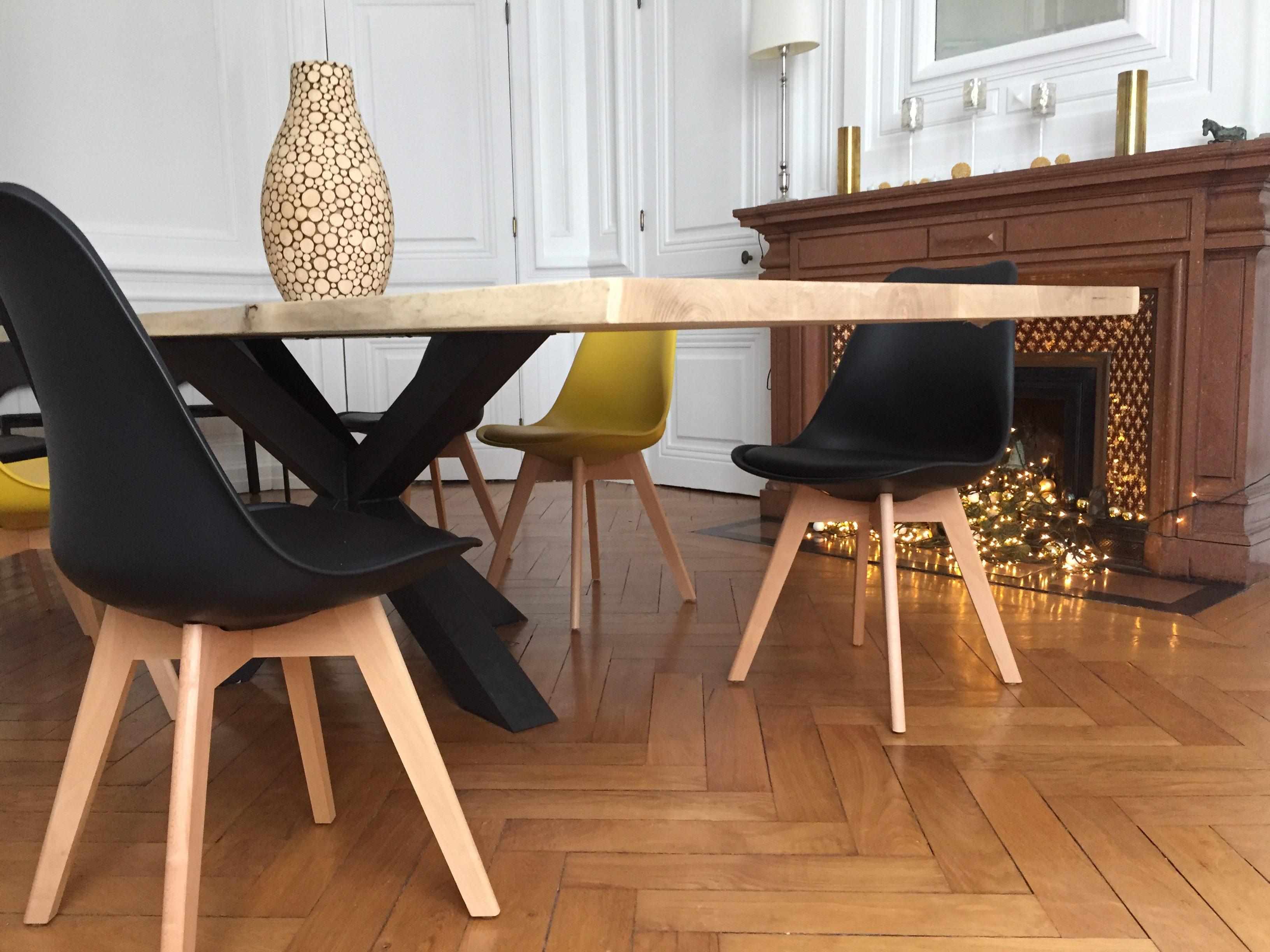 Table Bois M 233 Tal Pied Central Design Industriel