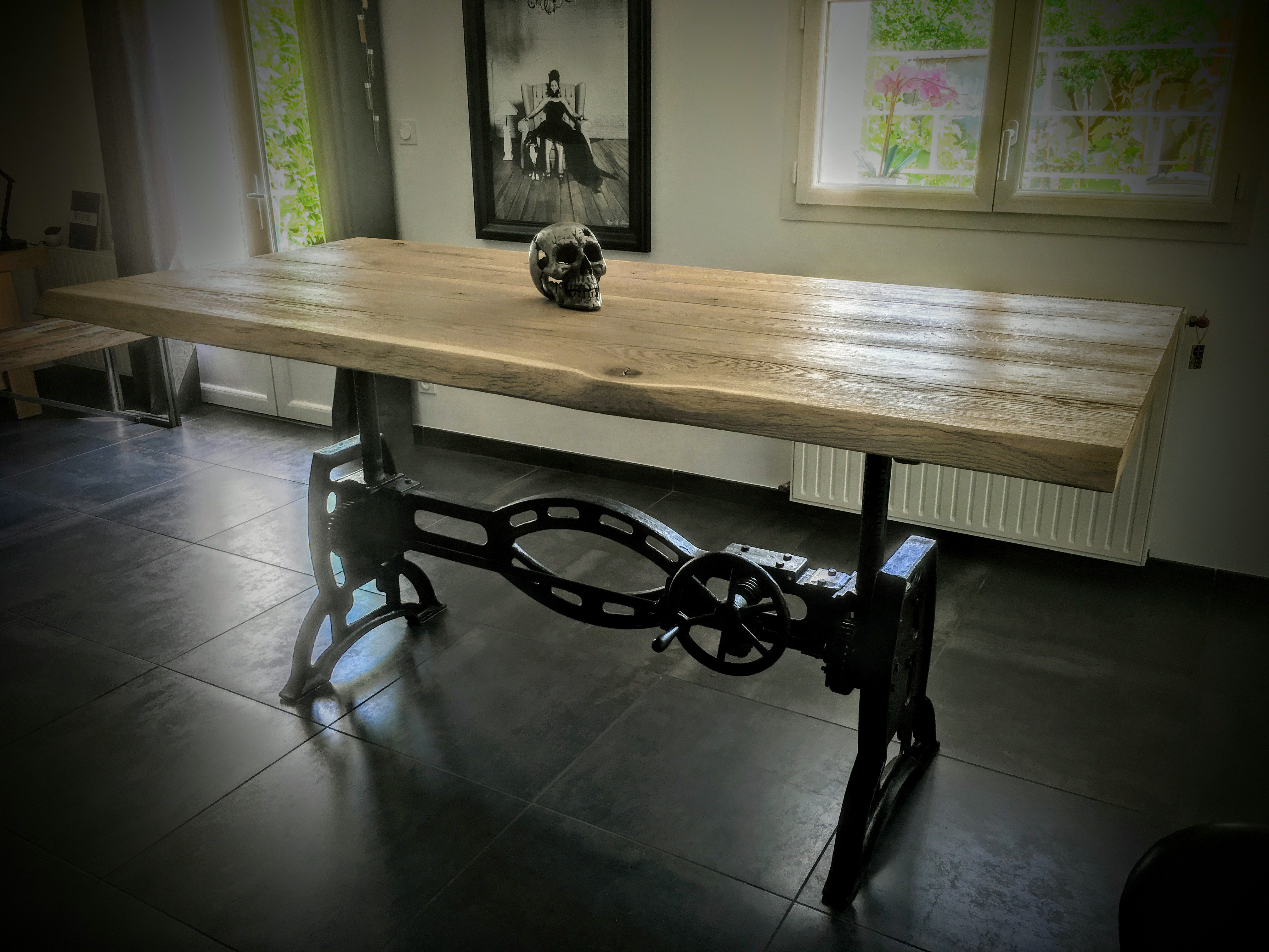 Table Elevatrice Pied Rond En Fonte Bois Metal Style Industriel
