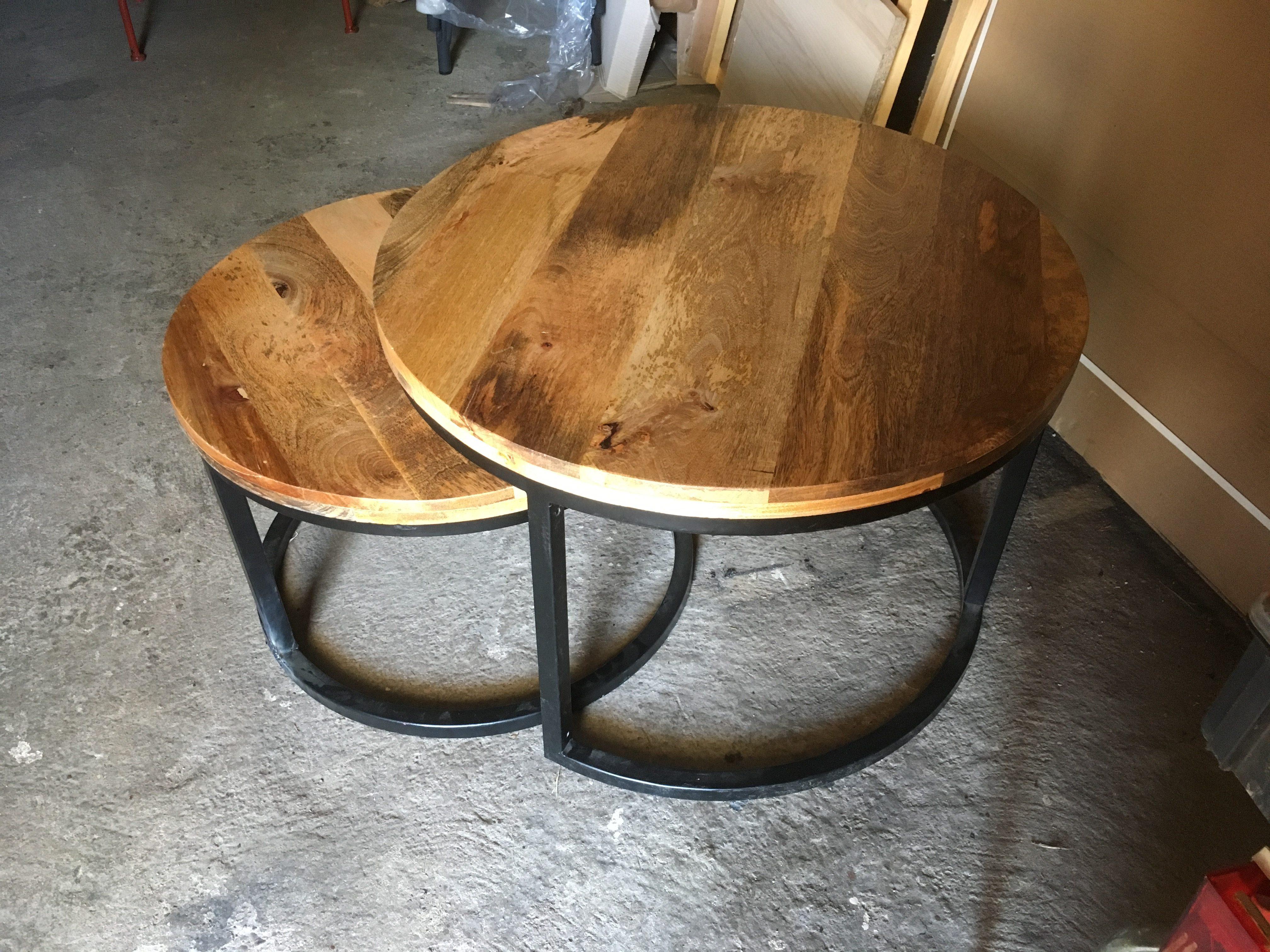 Tables Basses Gigognes Rondes Bois Et Metal Creation Sur Mesure